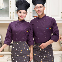 Wholesale Cooking Jacket - q0228 New Style Food Service Multicolor Chef Jacket Restaurant Hotel Kitchen Cook Uniform Clothes Chinese Style Chef Uniform