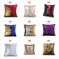 Wholesale Mermaid Magical Color Change Sequin Cushion Cover For Sofa Glitter DIY Throw Square Brand Pillow Case Home Decorative Couch Pillowcase
