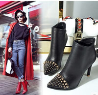 Wholesale Stiletto Heel Fur Boots - Wholesale New Arrival Hot Sale Specials Super Fashion Martin Knight Star Rivets Punk Sweety Stilettos Noble Heel Wedding Bride Boots EU34-43