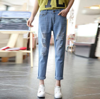Wholesale Silk Harems - Free shipping Spring and summer paragraph holes jeans women loose large code Harlan nine points jeans women JW035 Women's Jeans