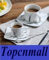 Wholesale Tea Cups Set Wholesales - Marble grain mug sets drinkware water bottle ceramic cups kitchen dinnerware coffee mug with tray tea cups tea sets