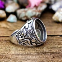 Art Deco Antique Vintage Retro 13.5x16.5mm Oval Cabochon Semi Mount Ring 925 Sterling Silver Men Wedding Ring Fine Silver