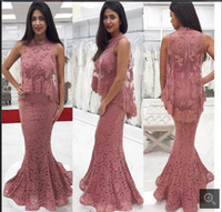 Wholesale formal shawls wraps - Elegant Mermaid Lace Prom Dresses High Neck Muslim Party Dress Formal Evening Party Gowns With Shawl