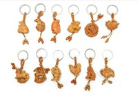 Wholesale Chinese Zodiac Charms - 60pcs2017 Chinese Style 3D Wooden Carving artwork Chinese zodiac Charms Keychain Fashion Backpack Chain Pendant Creative Unisex best gift