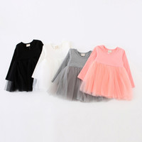 Wholesale long full tutu for girls for sale - Group buy Girls Long Sleeve Dress Autumn Kids Clothes Baby Girl Solid Color Tutu Dress Color for Choose