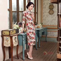 Wholesale Office Fashion Outfit - Office Wear Autumn Outfit New Linen Robe Manual Button Sleeve Long Low Vents of Cheongsam Wholesale Fashion