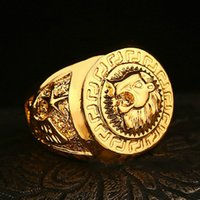 Wholesale Lion Rings Women - Luxury gold plated jewelry Hip hop fashion ring lion head ring Gold jewelry rings for men and women