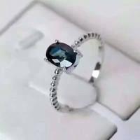natürliche saphirringe großhandel-Luxuriöse Edelstein Ehering 5 * 7mm 0,7 ct natürlichen dunkelblauen Saphir Ring massiv 925 Sterling Silber Saphir Ring für Mädchen
