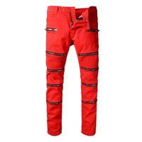 Wholesale Boys Jeans Pant - Fashion Runway Biker Jeans Mens New Arrival Design Slim Fit Jeans For Men Good Quality Blue Black Casual Denim Pants Boy Skinny Jeans