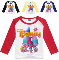 Wholesale Cute Tops For Winter - 4 colors cute boys long sleeve T-shirt children trolls cartoon top tees kids tshirt for spring autumn DHL fast shipping free