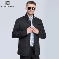 Wholesale Black Quilted Leather Jacket - Wholesale- CITY CLASS New Mens Autumn Jackets And Coats Fashion Casual Slim Quilted Stand Collar Black Jackets Leather free shippment 13022