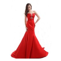 Wholesale Dropshipping Evening Dress - Red Satin Sweetheart Dropshipping Evening Dress Party Short Train Gown Beaded Women Dress Free Custom Made