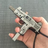 Wholesale Gun Pistol Laser - Large Metal Uzi Charge Pistol Windproof Lighters Consigned Simulation Model With Infrared Laser Metal Gun Lighter