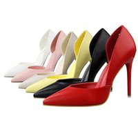Wholesale Two Piece Heels - Woman Shoes Fashion PU Women Pumps Side Hollow Out Pointed High Heels Two Piece Sexy Women Party Work Shoes Princess Stiletto