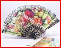 Wholesale Lace Fans Flowers - 50pcs lot Free shipping assorted flower designs Spanish plastic fan with lace as holiday gift or wedding favor