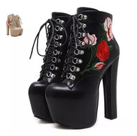 Wholesale High Heels Platform Rose - Sexy Thick High Heel Ankle Boots Round Toe Platform Shoes 16cm Rose Flower Embroidery Super