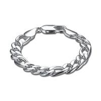 Wholesale Mens 925 Bracelets - YUEYIN 925 Silver Plated Mens Bracelet Bangle Wristband Link Chains Snake Chains Fashion Jewelry