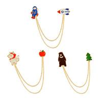 Wholesale Handbag Brooches - Cute 3 Style Chain Tassel Brooch Astronaut Bear Wolf Collar Shirt Pin Jacket Denim Handbag Decor