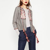 Wholesale Tassel Beading - Wholesale- Vintage Ethnic Colorful Geometric Embroidery Striped Cardigan Jacket Tassel Bell Beading Casual Coat Outwear Sunscreen ZA femme