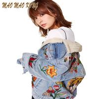 kadınlar için denim ceket yaka toptan satış-Toptan-Kadın Kaplan Kelebek Çiçek Kuş Hayvan Desen Nakış Denim Ceket Turn Down Yaka Coat Dış Giyim