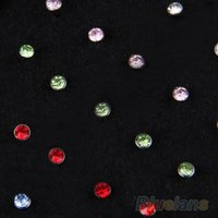 Wholesale Surgical Steel Navel Piercings - Indian style 60pcs set Crystal Rhinestone Nose Ring Bone Stud Surgical Steel Body Piercing Jewelry 02U5
