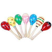 Wholesale baby rattles hammer resale online - Hot Sale Baby Wooden Toy Rattle Colorful Wooden Hammer Baby cute Rattle toys musical instruments Educational Toys