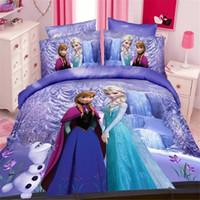 Wholesale Girls Pink Duvet - Wholesale- magic queen girls twin single size bedding set duvet cover bed sheet pillow case 2 3pcs bed linen set,blue,purple,pink