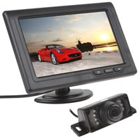 Wholesale Lcd Screen Camera Input - 4.3 Inch 480 x 272 LCD Screen 2-Channel Video Input Monitor + 7 IR Lights 170 Degree Car Rear View Camera CMO_501