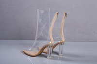 Wholesale Ladies Shoes Zipper - PVC made hollow out heel women ankle sandals behind zipper pointed toe fashion dress shoes lady party pumps