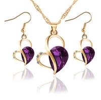 Wholesale Gold Plated Drop Pearl Set - Love heart crystal Water Drop Earrings Necklace Set Peach Heart Pearl Jewelry Korean Style Wind Jewelry Set