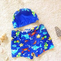 Wholesale Toddlers Boys Swimwear - Baby Boy Swimsuit Carton Swimwear With Caps Bathing Suit Toddler Kid Swimming Clothing For Summer Beach