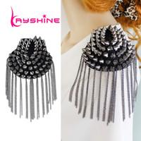 Wholesale Spikes Shoulders - 1 pc Fashion Element Spike Punk Style Tassels Brooch Shoulder Board Jewelry