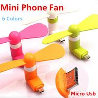 сотовые телефоны iphone 5s оптовых-Новые красочные мини-микро USB-вентилятор портативный вентилятор для мобильного телефона Type-c для iphone 5 5S 6 плюс iphone 7 7 плюс