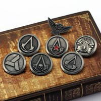 Wholesale Antique Silver Brooches - Wholesale- H&F Assassin's Creed brooch pins for men antique silver plated Pins Anime Cosplay Accesories Gift