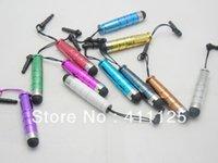Wholesale Cheap Earphone Plugs - Wholesale- Cheap Price Mini Plastic Stylus Pen Touch Pen With 3.5mm Earphone Plug 11 Colors For Cellphone Tablet PC 10pcs lot Free Shipping