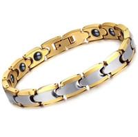 armband wolfram großhandel-8mm breite 195mm länge Gelbgold und Silber Mitte Wolframkarbid Armband Für männer und frauen Modeschmuck Armband