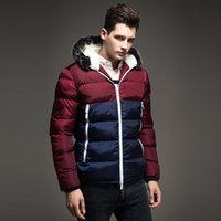 Wholesale Thick Silver Ribbon - Wholesale- Free Shipping 2015 Contrast Color Mens Winter Jackets Men's Parka Fur hood Men Coat Winter Casual & Fit Thick Man Down Jacket