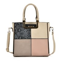 Wholesale Handbags Colorful Patchwork - Woman Big Handbags Casual Totes Square Shoulder Bags High-capacity OL Brand Patchwork Colorful Fashion Hasp Serpentine High Quality SY2121