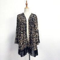 Wholesale Leopard Coats For Women - Leopard Chiffon Cardigan Coat Women Spring Summer Coverup Jacket Animal Print Beach Wear Blouse for Her DOM106481