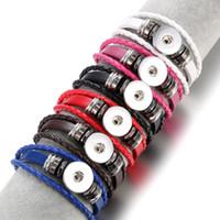 Wholesale Braided Bracelets Fit European - Multilayers Leather Snap Buttons Bracelets Braided rope Jewelry For Women Fit 18mm Snap Charms Bracelet Men Casual Vintage Punk Bracelet