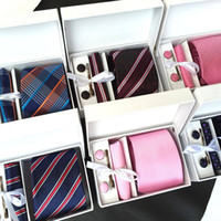 Wholesale Tie Cufflink Boxes - 3.35inch(8 Cm) Wide Ensemble Silver Paisley Man Tie, Handkerchief, Pin and Cufflinks Gift Box Packing Many Color