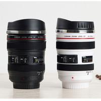 Wholesale Slr Coffee Mug - 400ML Caniam SLR Camera Lens 24-105mm 1:1 Scale Stainless Steel Coffee Tea Milk Cup MUG - Creative Cups And Mugs With Lid