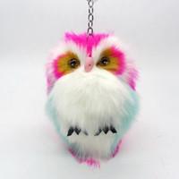 Wholesale Owl Ring Holder - 15CM Cut Fluffy Owl Keychain Pendant Womens Key Ring Holder Faux Bunny Rabbit Fur Pompoms Key Chains For Handbag Plush Keyring Trinket Gift