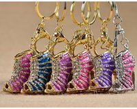 Wholesale Wholesale High Heel Shoe Keyring - 2017 12 Style Adorable Rhinestone High-Heeled Shoes Key Chain & Key Ring Holder Keyring Porte Clef Gift Women Souvenirs C1L