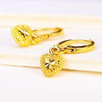 Wholesale 24k Gold Earrings For Women - 24K Gold Plated Hoop Earrings Brand New Design Beautiful For Women Wedding Fine Jewelry Not Faded Heart Wholesale Hot Sale Free Shipping