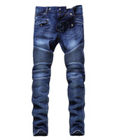 Wholesale green holes - Men Distressed Ripped Jeans Fashion Designer Straight Motorcycle Biker Jeans Causal Denim Pants Streetwear Style mens Jeans Cool