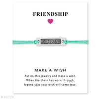 Wholesale Friends Day Cards - Wish Bracelet With Gift Card Best Friend Charm Bracelets & Bangles for Women Girls Adjustable Friendship Statement Jewelry with Card