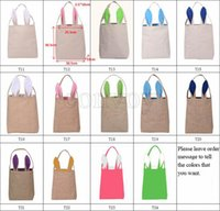 Wholesale Child Bags - New 14 styles Easter Bunny Ear Bags DIY Embroider Cotton Linen Basket Bag Easter Gift Packing Handbags For Children Festival Tote Bag EHB01