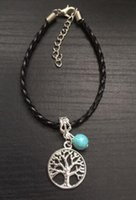 Wholesale Wholesale Jewelry Leather Braclets - 10PCS Vintage Silvers Tree Of Life Charms Chain  Weave Leather Good Luck Braclets& Bangles Gift For Women Jewelry Accessories X298
