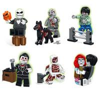 juguetes muertos vivientes al por mayor-Juego Zombie War II Walking Dead Saw Billy Pumpkin King Sally Dog Boy Dr.Anatomini Mini Building Block Toy Figure